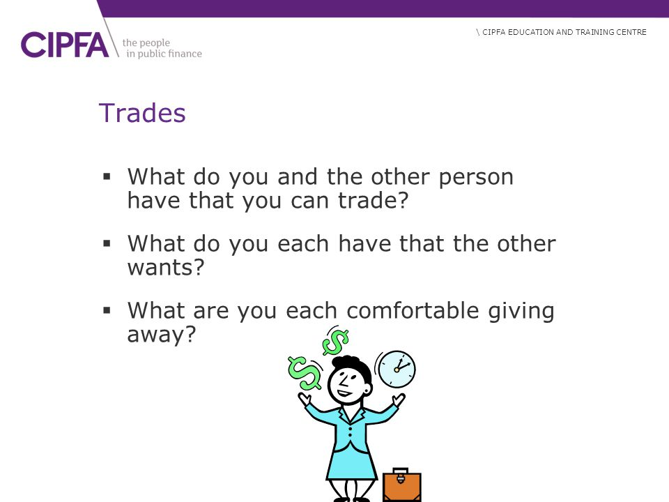 Trades What do you and the other person have that you can trade