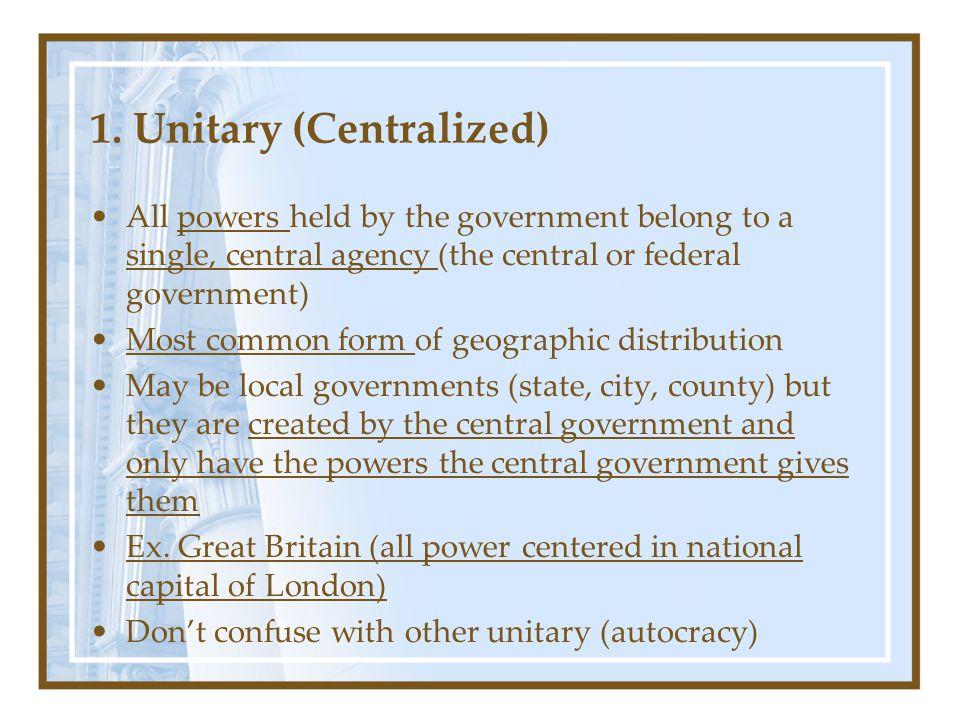 1. Unitary (Centralized)