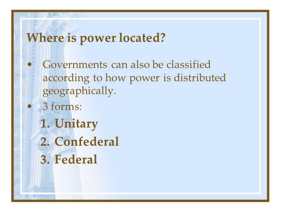 Where is power located Unitary Confederal Federal