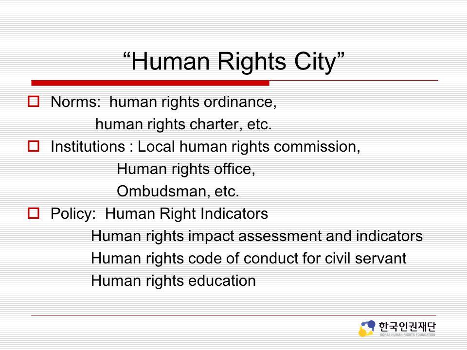 Human Rights City Norms: human rights ordinance,