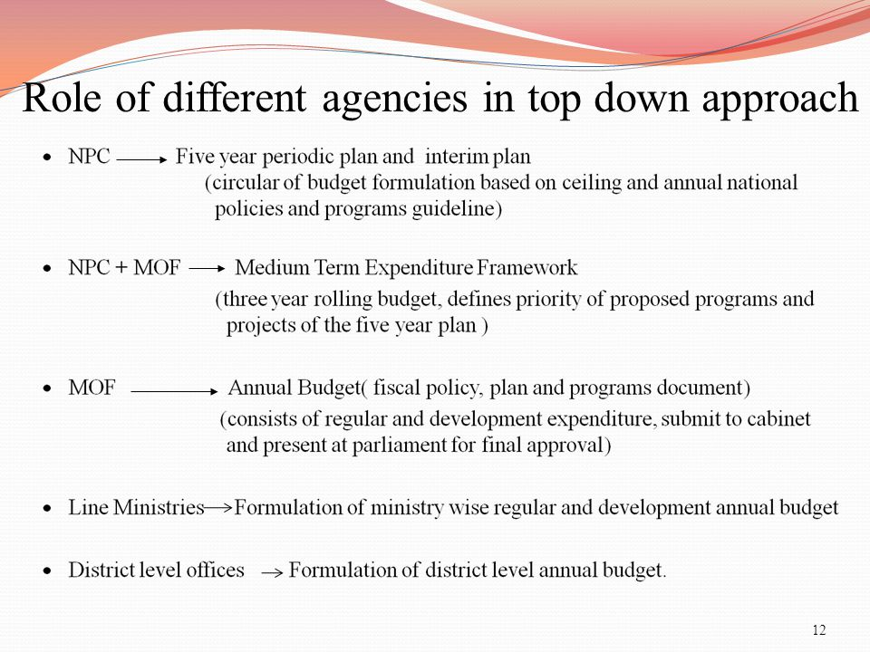 Role of different agencies in top down approach
