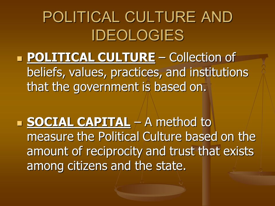 POLITICAL CULTURE AND IDEOLOGIES