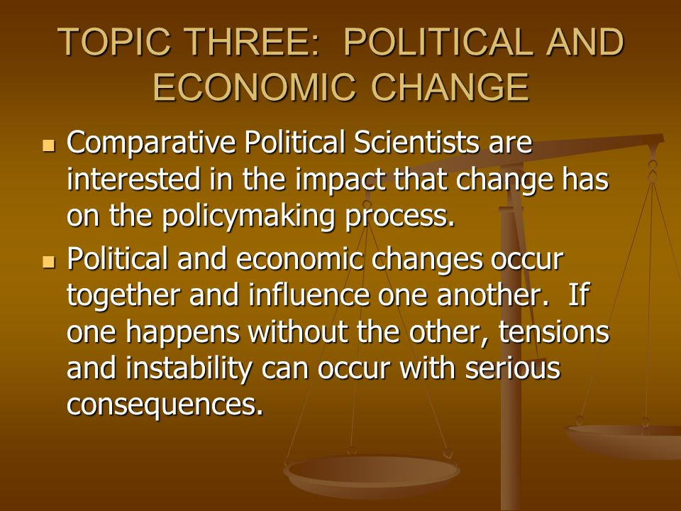 TOPIC THREE: POLITICAL AND ECONOMIC CHANGE
