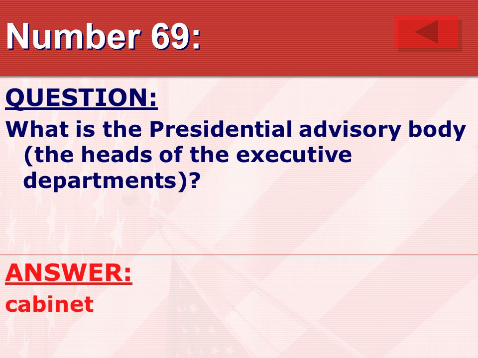 Number 69: QUESTION: ANSWER: