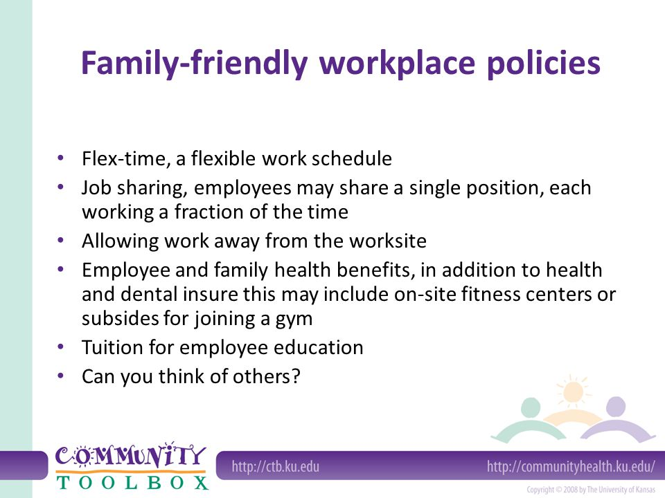 Family-friendly workplace policies