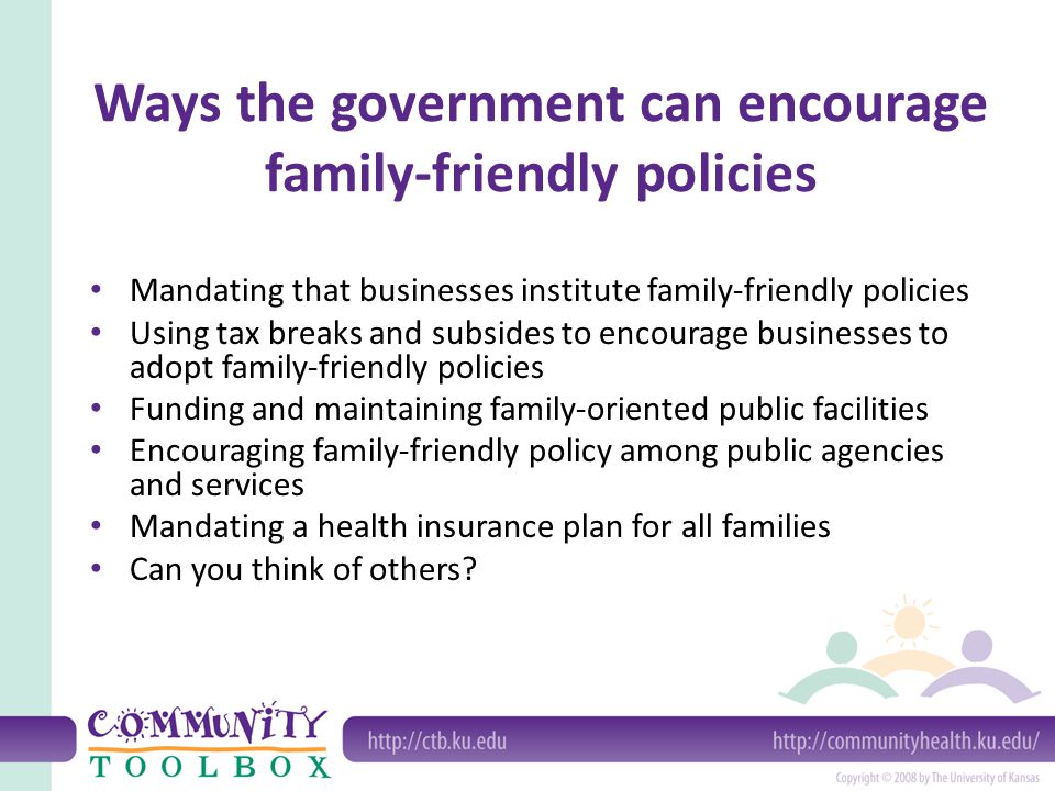 Ways the government can encourage family-friendly policies