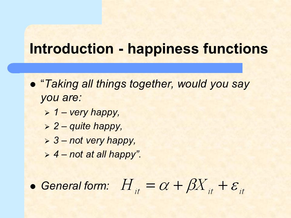 Introduction - happiness functions