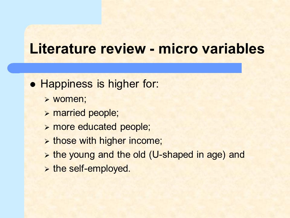 Literature review - micro variables