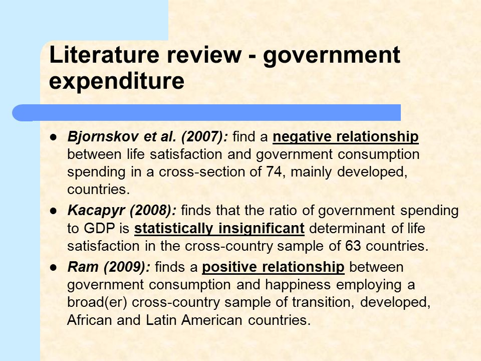Literature review - government expenditure