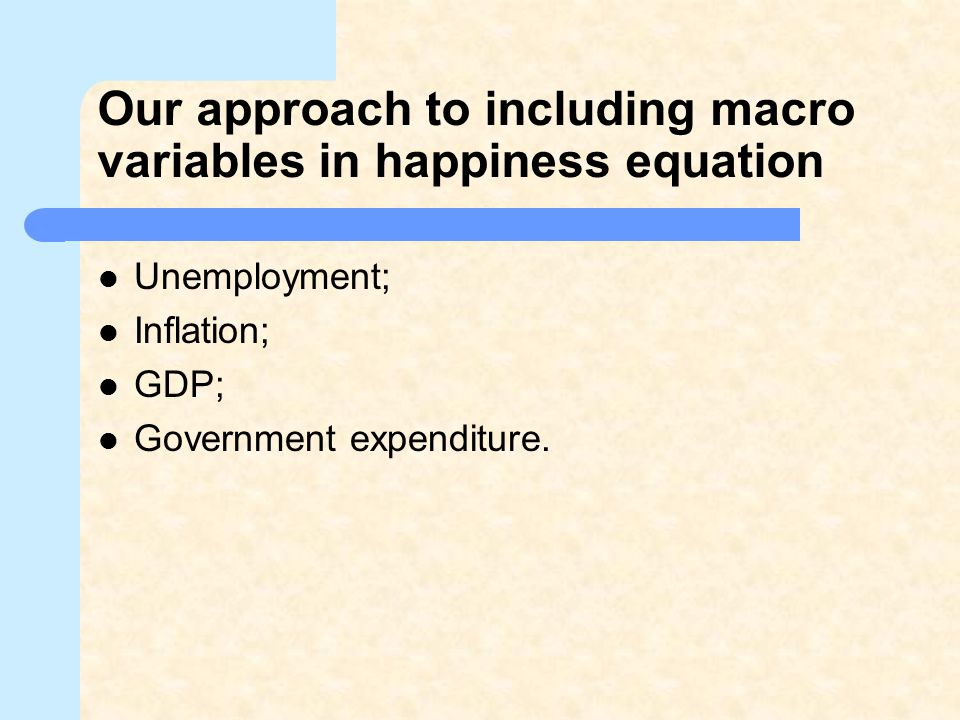 Our approach to including macro variables in happiness equation