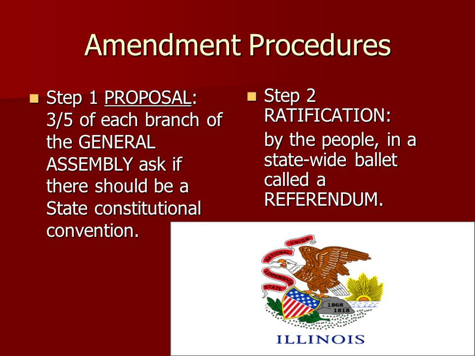 Amendment Procedures Step 1 PROPOSAL: 3/5 of each branch of the GENERAL ASSEMBLY ask if there should be a State constitutional convention.