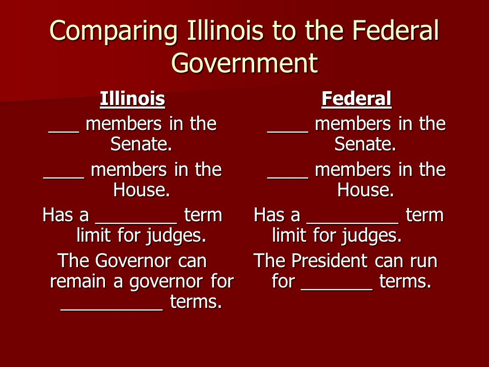 Comparing Illinois to the Federal Government