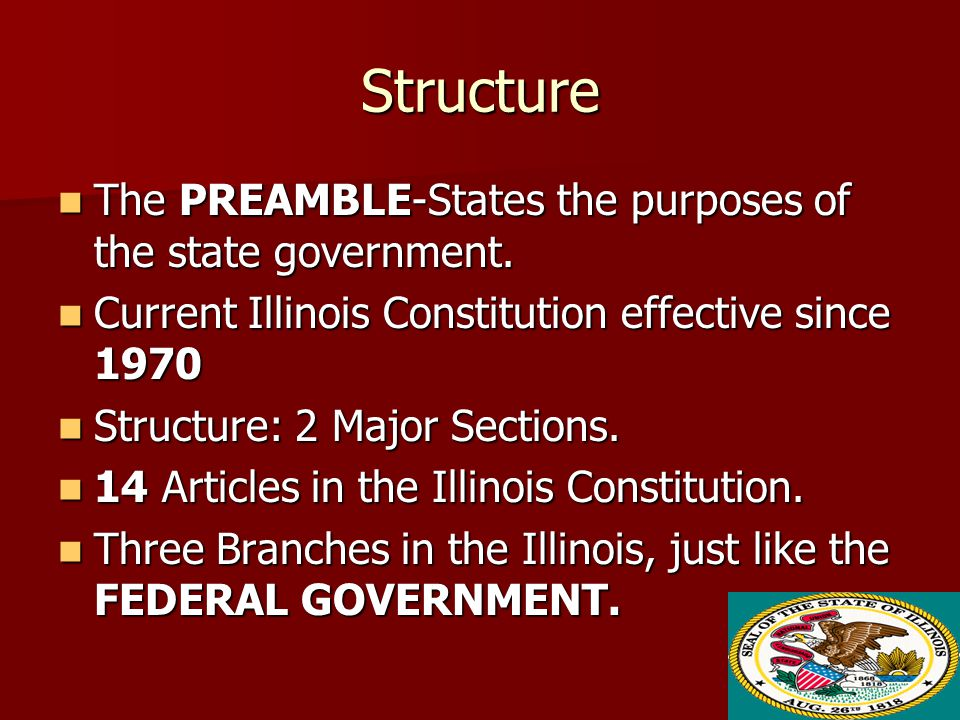 Structure The PREAMBLE-States the purposes of the state government.