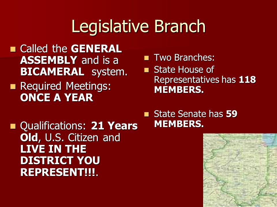 Legislative Branch Two Branches: State House of Representatives has 118 MEMBERS. State Senate has 59 MEMBERS.