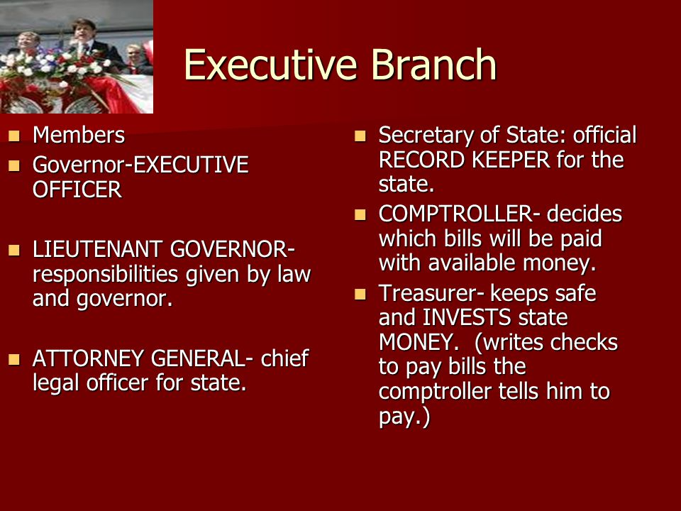 Executive Branch Members Governor-EXECUTIVE OFFICER