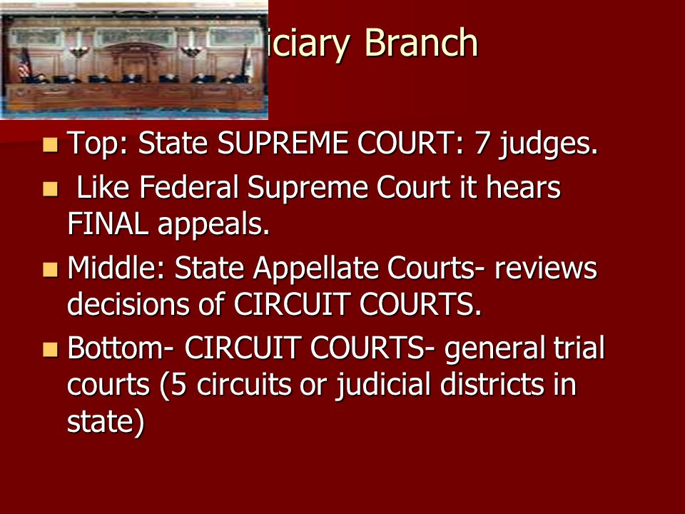 Judiciary Branch Top: State SUPREME COURT: 7 judges.