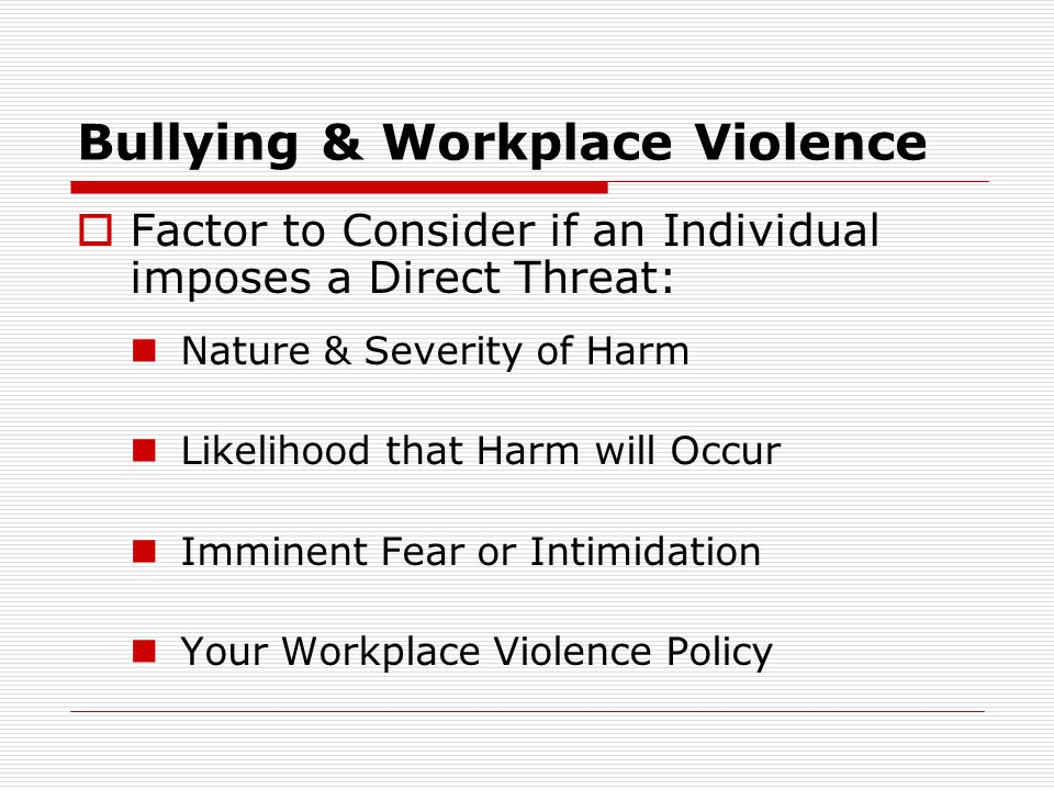 Bullying & Workplace Violence