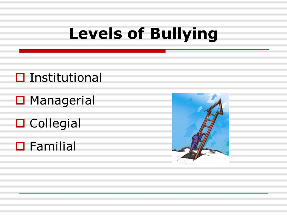 Levels of Bullying Institutional Managerial Collegial Familial