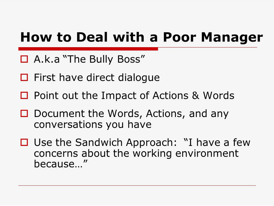 How to Deal with a Poor Manager