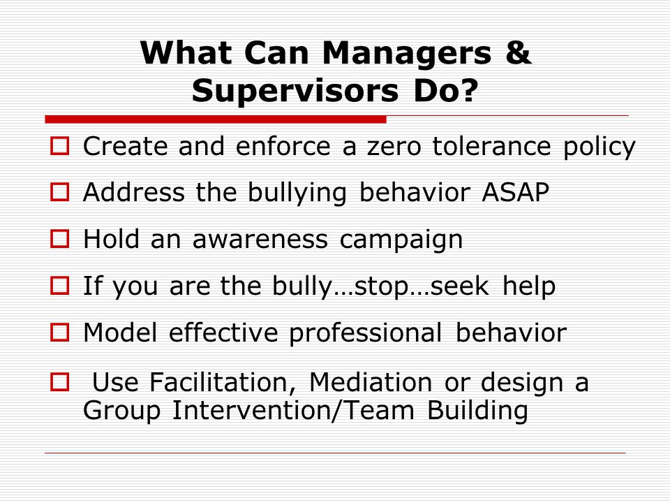 What Can Managers & Supervisors Do