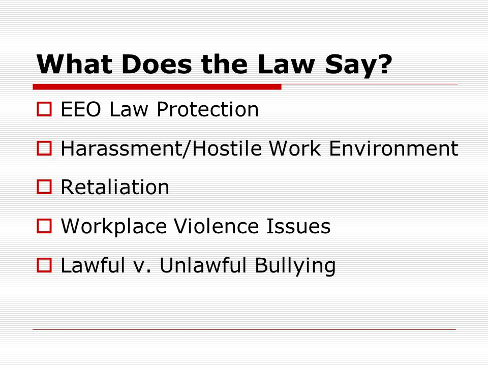 What Does the Law Say EEO Law Protection