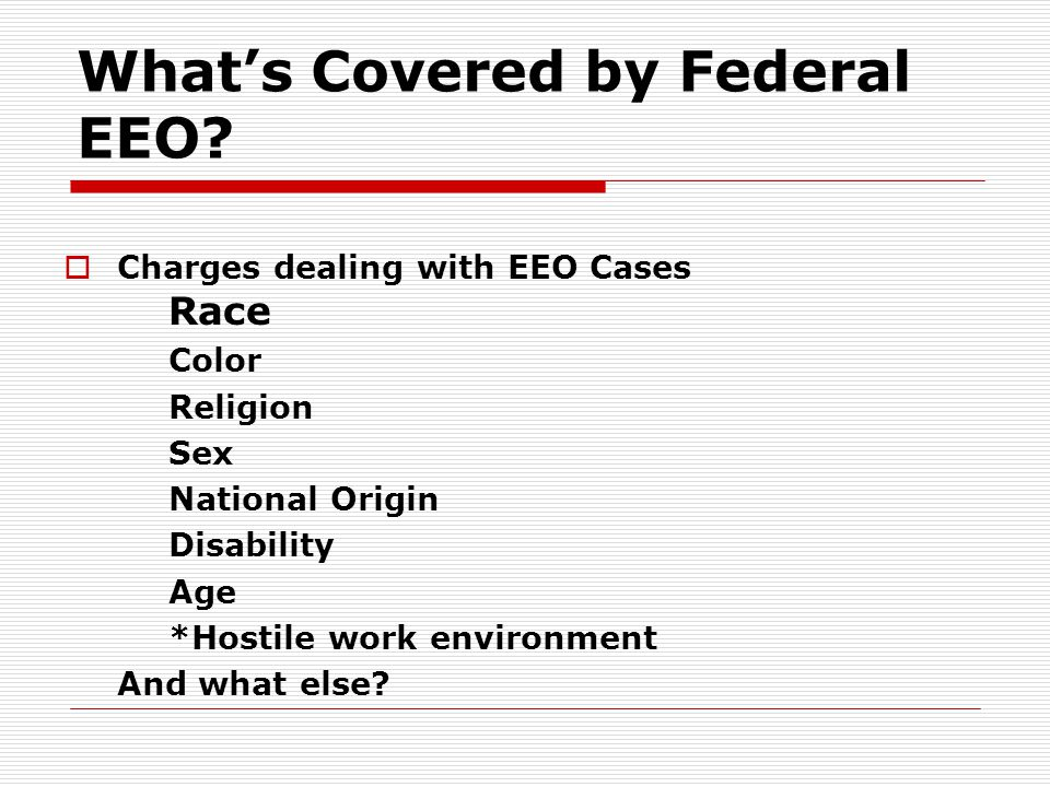 What's Covered by Federal EEO