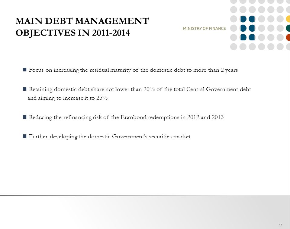 MAIN DEBT MANAGEMENT OBJECTIVES IN 2011-2014