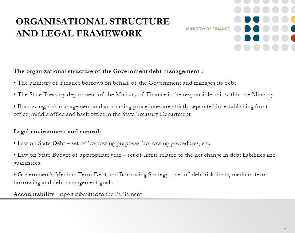ORGANISATIONAL STRUCTURE AND LEGAL FRAMEWORK