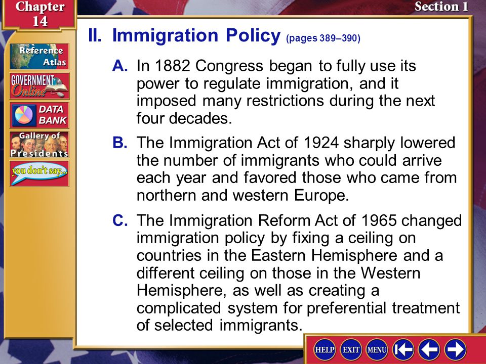 II. Immigration Policy (pages 389–390)