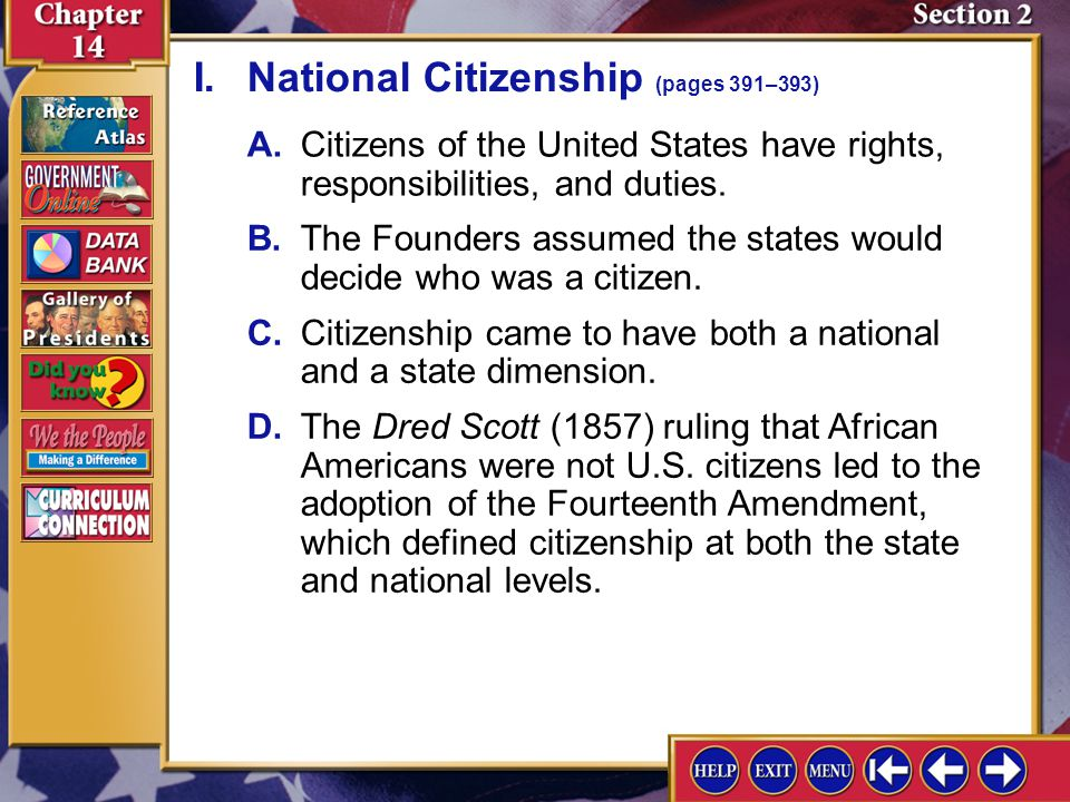I. National Citizenship (pages 391–393)