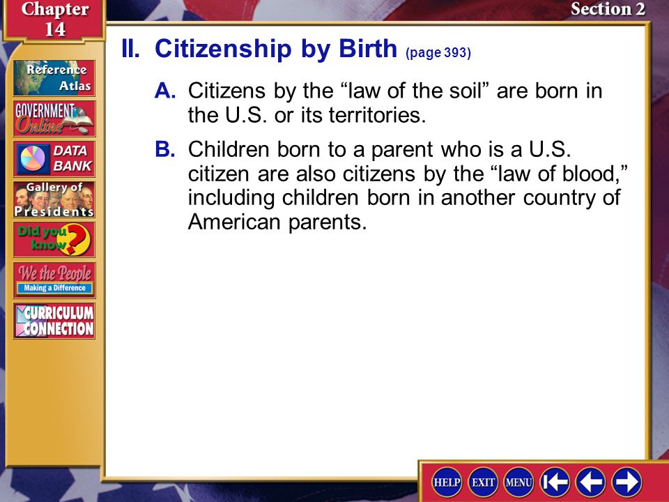 II. Citizenship by Birth (page 393)