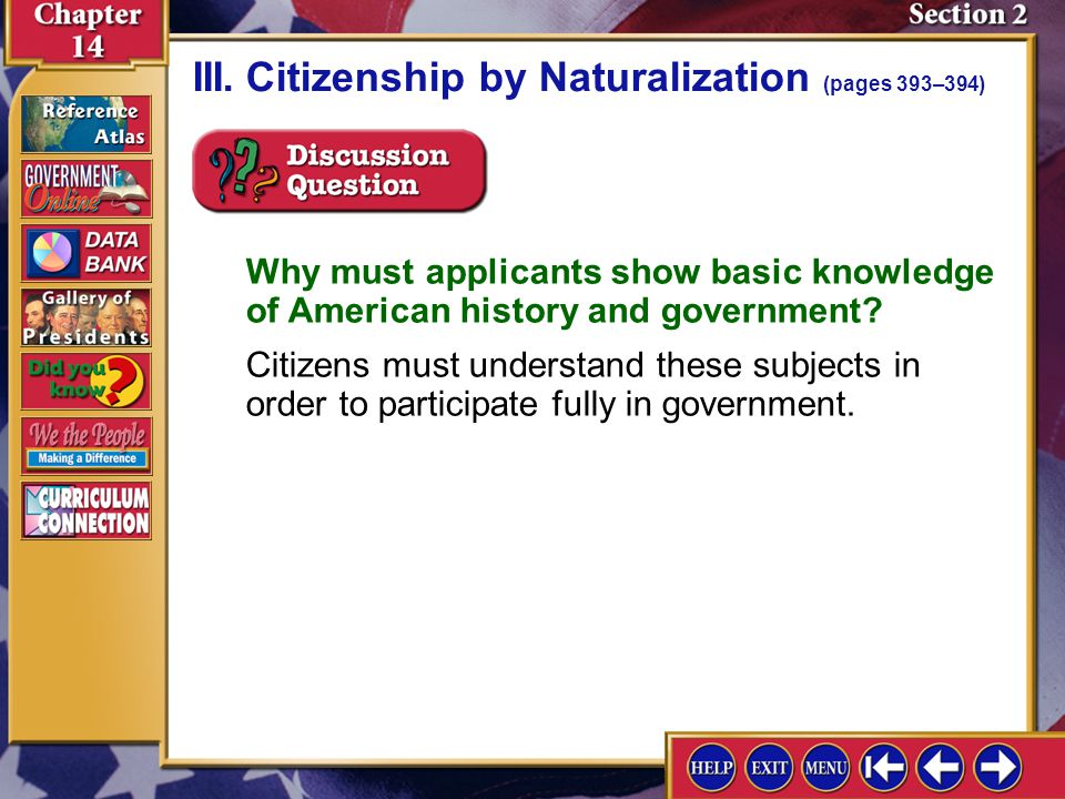 III. Citizenship by Naturalization (pages 393–394)