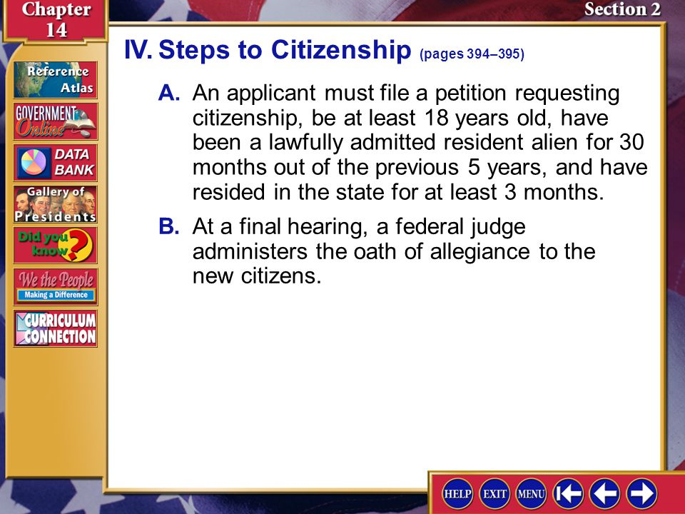 IV. Steps to Citizenship (pages 394–395)