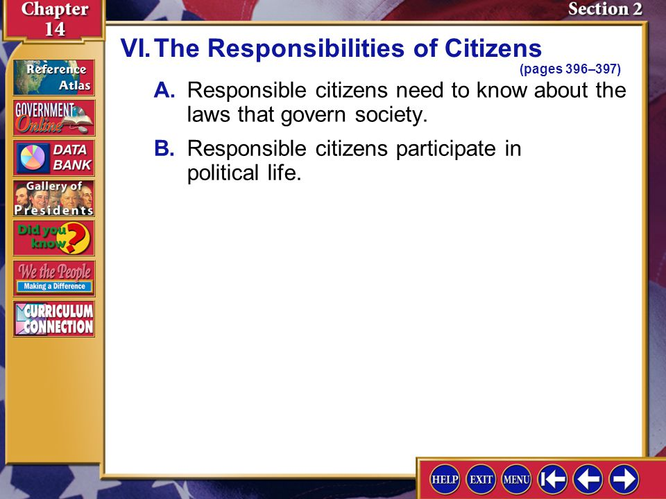 VI. The Responsibilities of Citizens (pages 396–397)