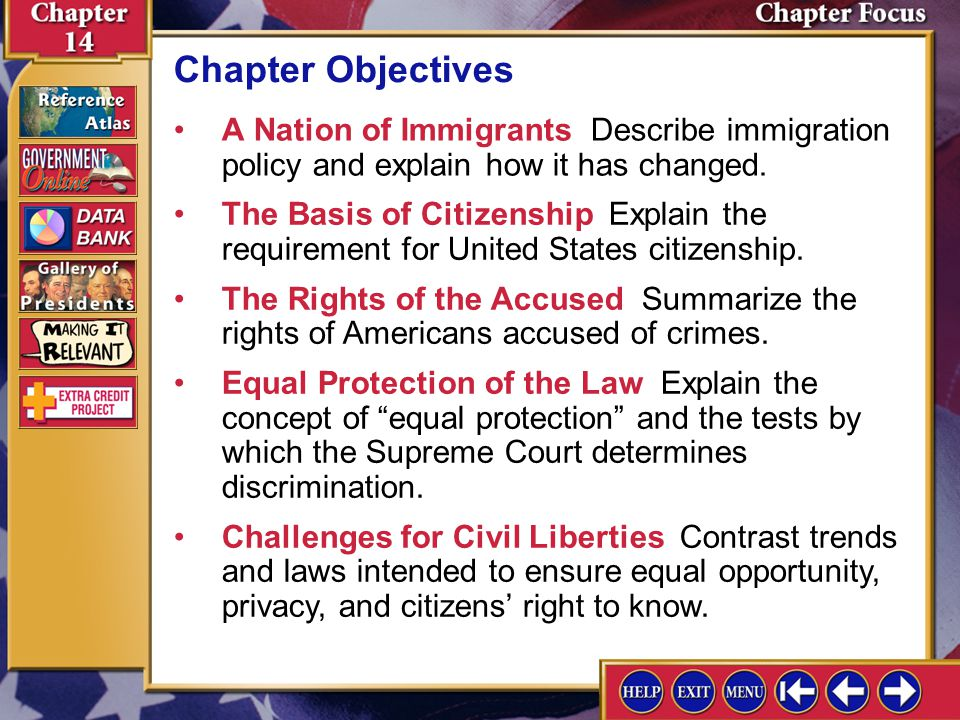 Chapter Objectives A Nation of Immigrants Describe immigration policy and explain how it has changed.