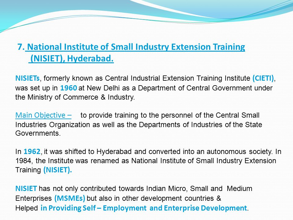 7. National Institute of Small Industry Extension Training