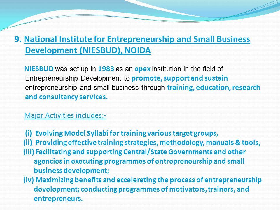 9. National Institute for Entrepreneurship and Small Business Development (NIESBUD), NOIDA