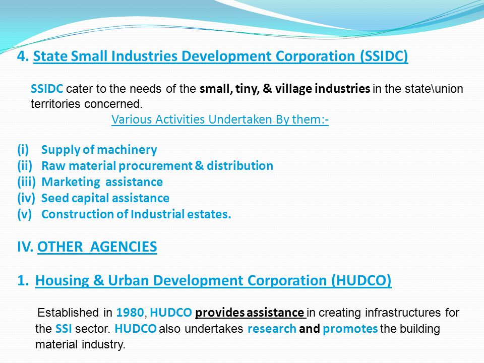 4. State Small Industries Development Corporation (SSIDC)