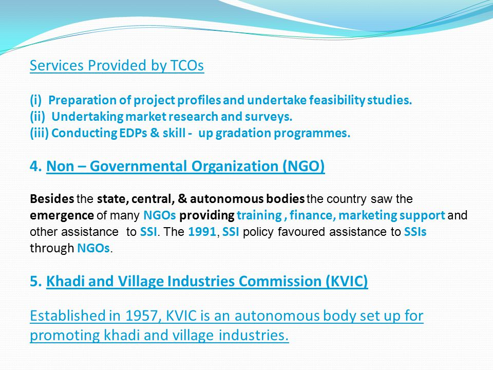 Services Provided by TCOs