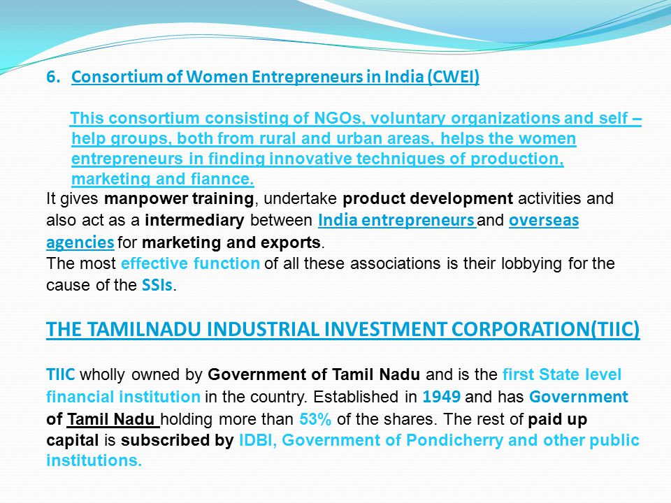 THE TAMILNADU INDUSTRIAL INVESTMENT CORPORATION(TIIC)