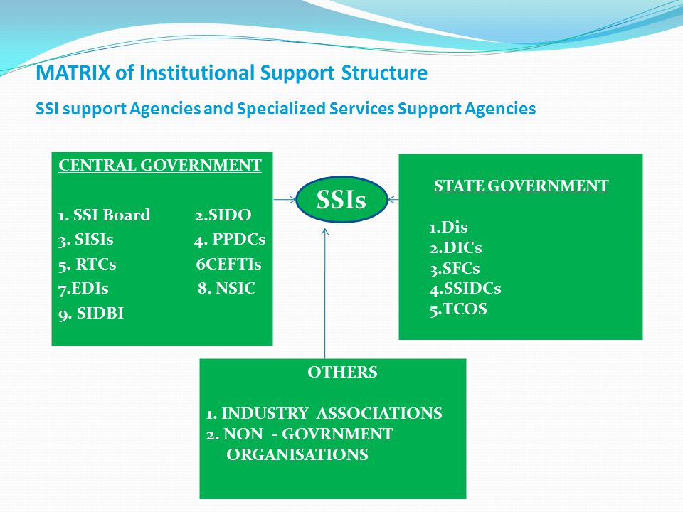 SSIs MATRIX of Institutional Support Structure