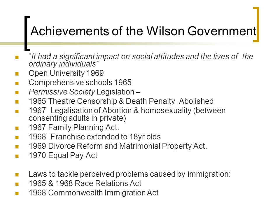 Achievements of the Wilson Government