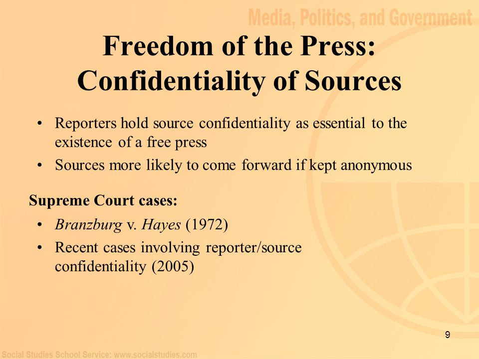 Freedom of the Press: Confidentiality of Sources