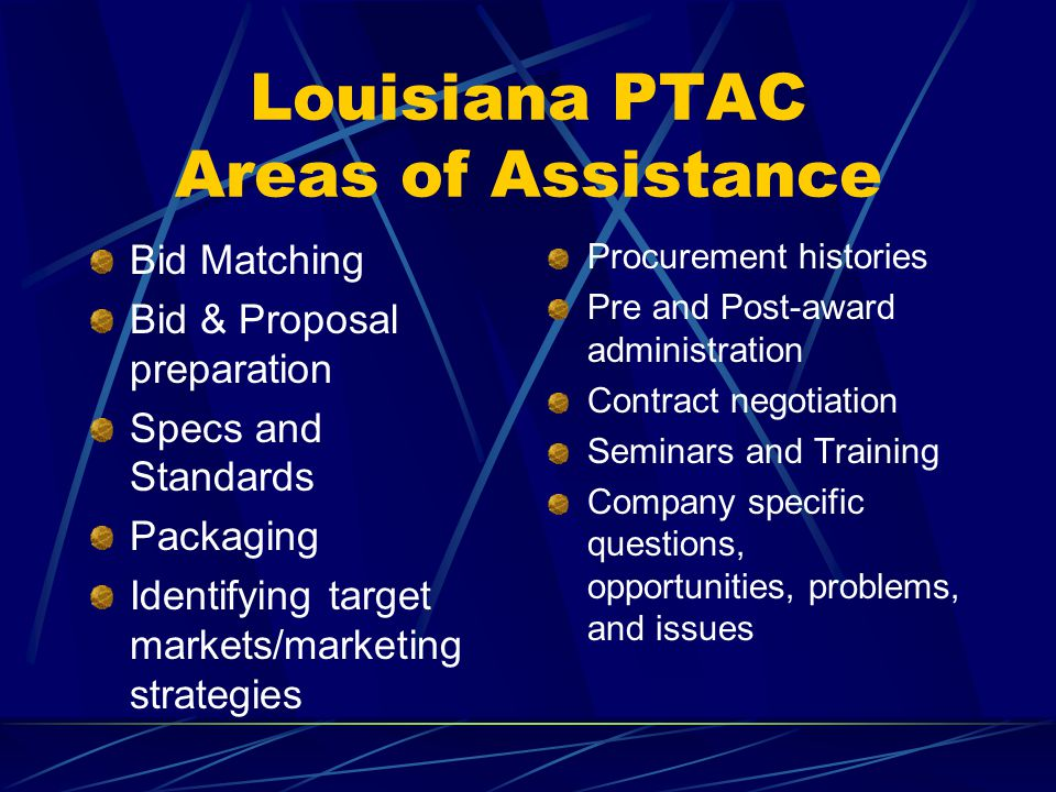 Louisiana PTAC Areas of Assistance