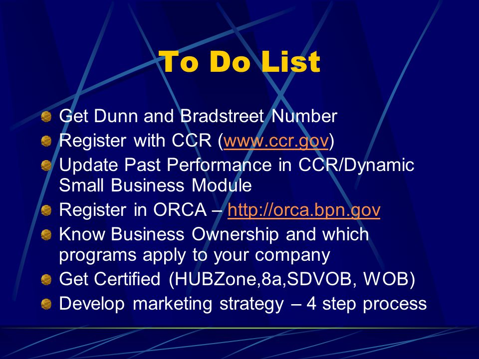 To Do List Get Dunn and Bradstreet Number