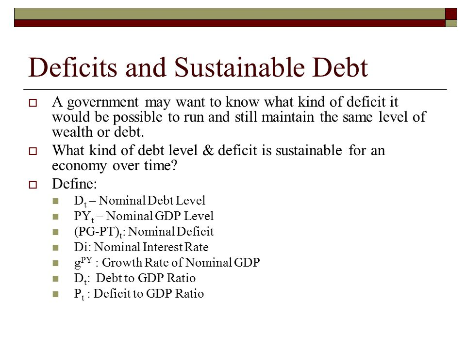 Deficits and Sustainable Debt