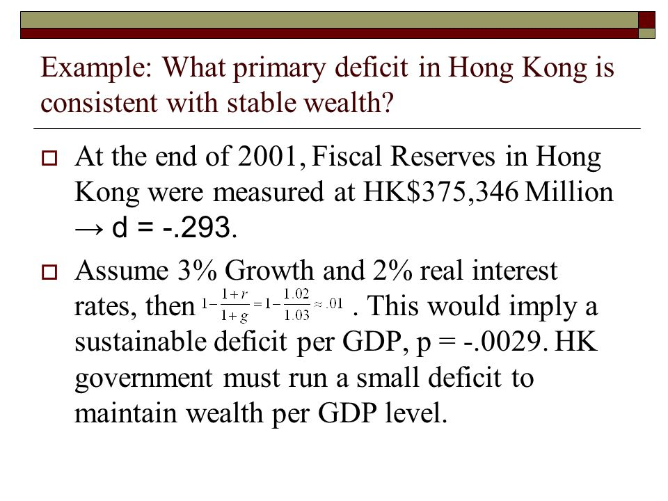 Example: What primary deficit in Hong Kong is consistent with stable wealth