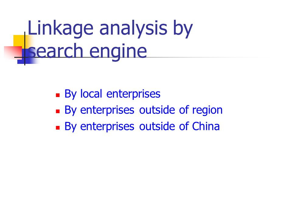 Linkage analysis by search engine
