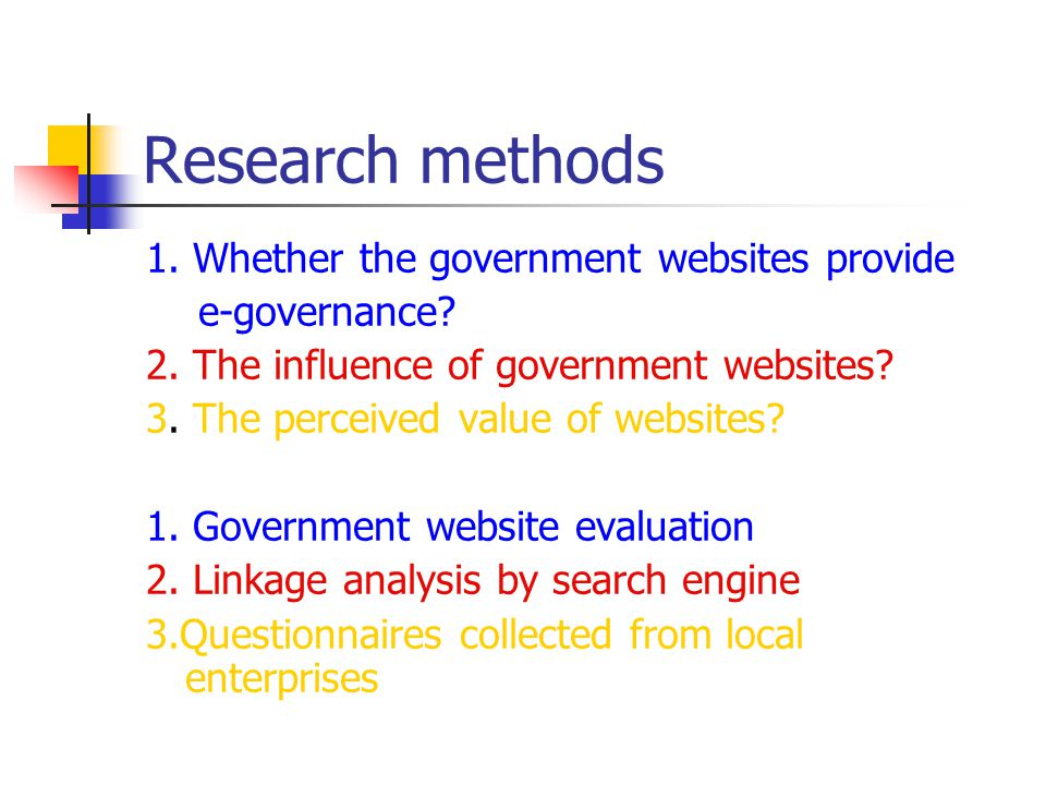 Research methods 1. Whether the government websites provide