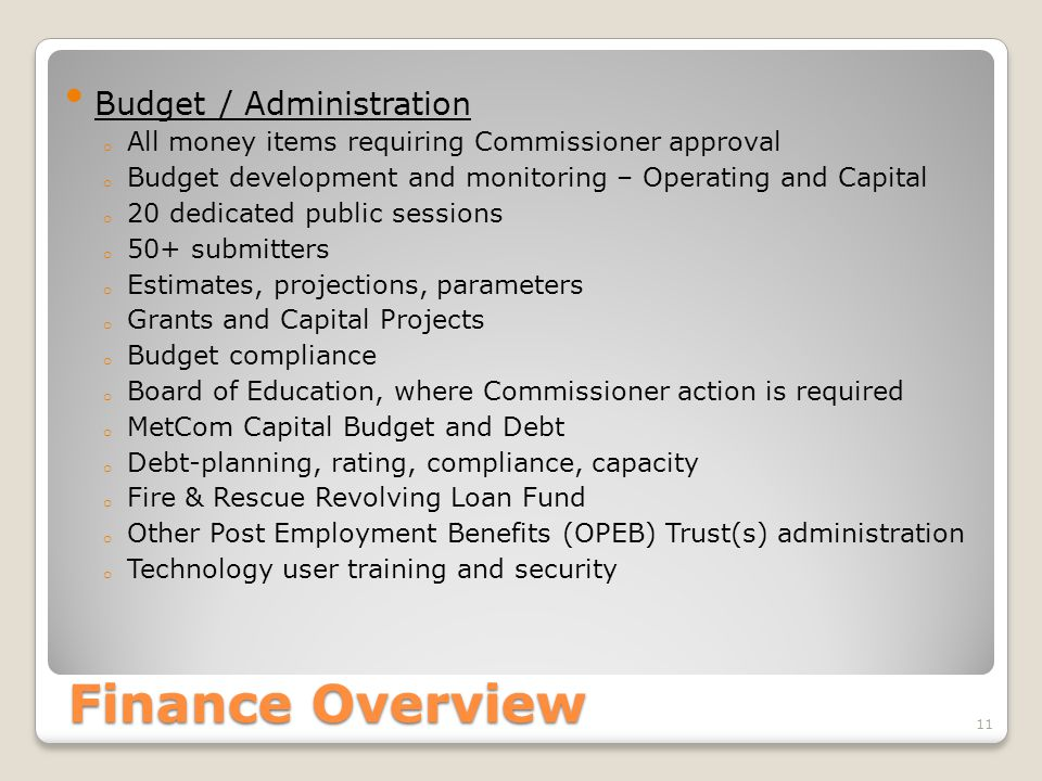 Finance Overview Budget / Administration